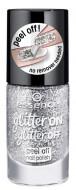 Лак для ногтей с глиттером ЕSSENCE Glitter On Glitter Off 01 серебяный: фото